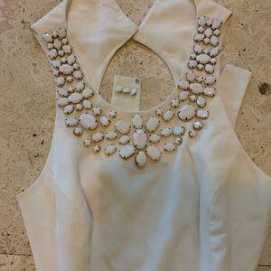 BCBG Ivory Silk Cut Out Dress